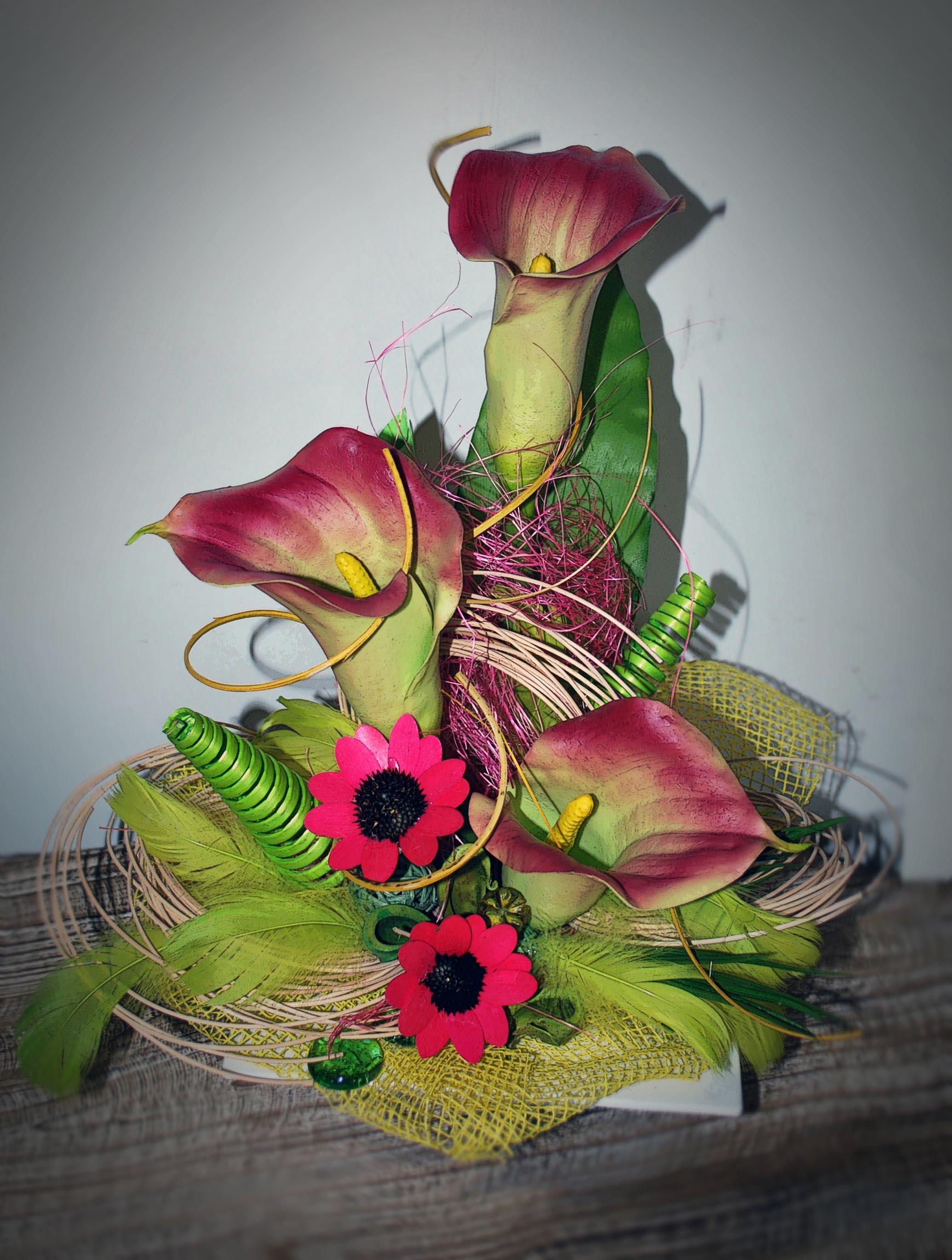 Композиция из искусственных цветов своими руками мастер класс 15